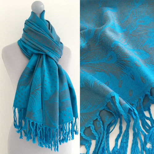LARGE BLUE FEATHER AND LEAF PRINT REVERSIBLE PASHMINA SHAWL SCARF