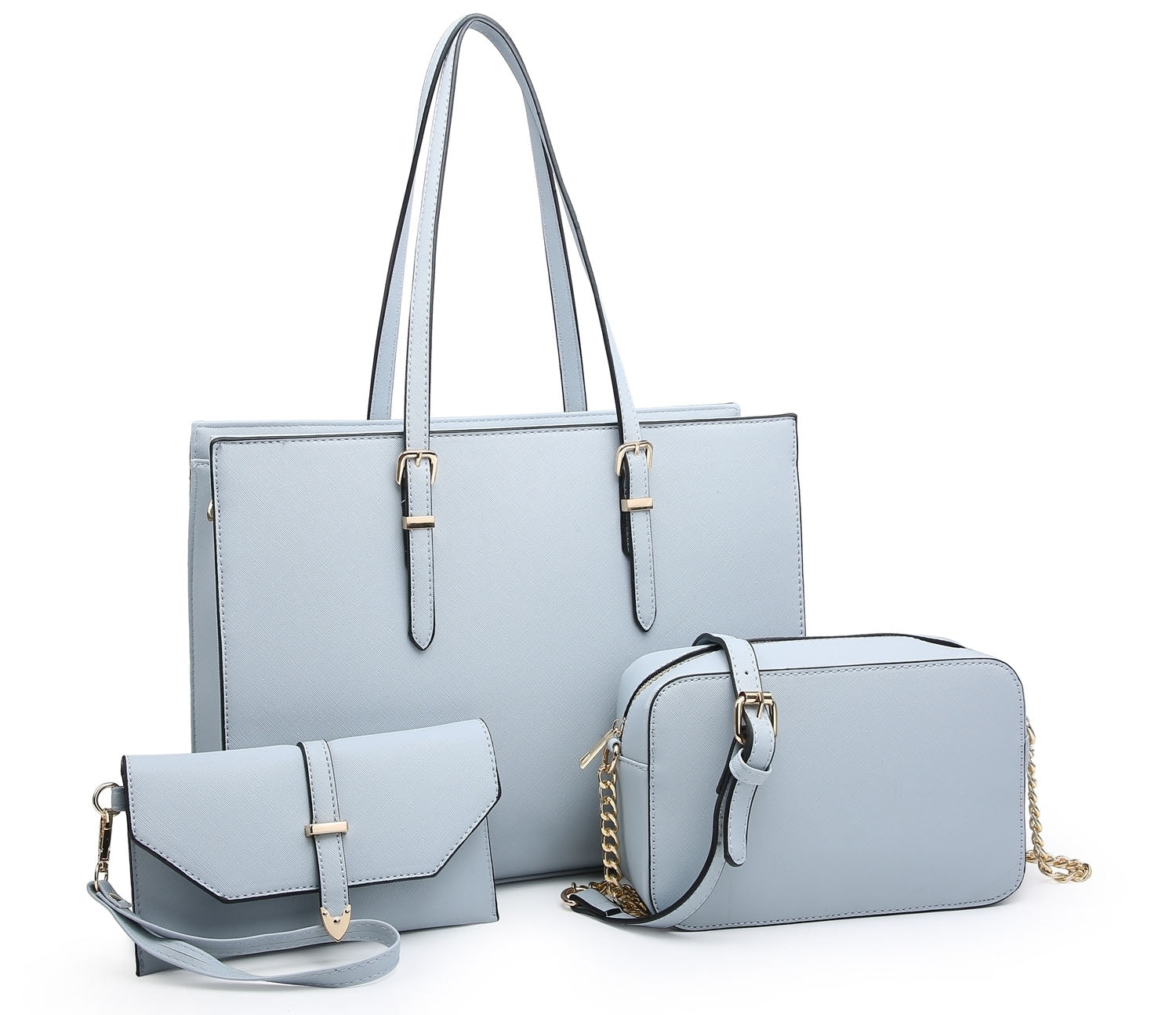 LARGE BLUE TOTE HANDBAG SET WITH PURSE AND CHAIN CROSSBODY BAG