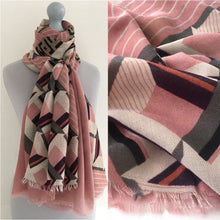 A-SHU LARGE BLUSH PINK MONOGRAM SQUARE CHECKED PRINT SHAWL SCARF - A-SHU.CO.UK