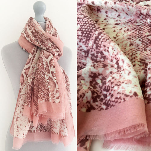 A-SHU LARGE BLUSH PINK SNAKESKIN PRINT SHAWL SCARF WITH METALLIC DETAILING - A-SHU.CO.UK