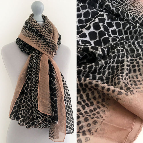 A-SHU LARGE BLUSH PINK SNAKESKIN PRINT SHAWL SCARF - A-SHU.CO.UK