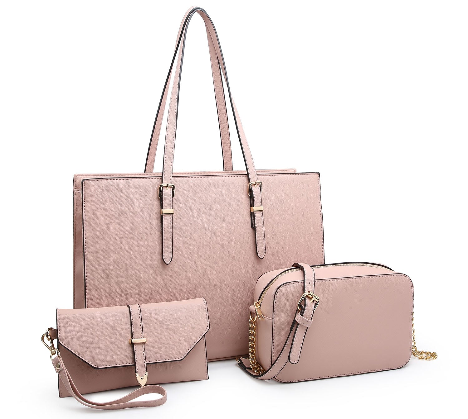 LARGE BLUSH PINK TOTE HANDBAG SET WITH PURSE AND CHAIN CROSSBODY BAG