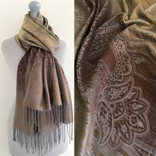 LARGE BROWN OMBRE SEA SWIRL PAISLEY PRINT REVERSIBLE PASHMINA SHAWL SCARF