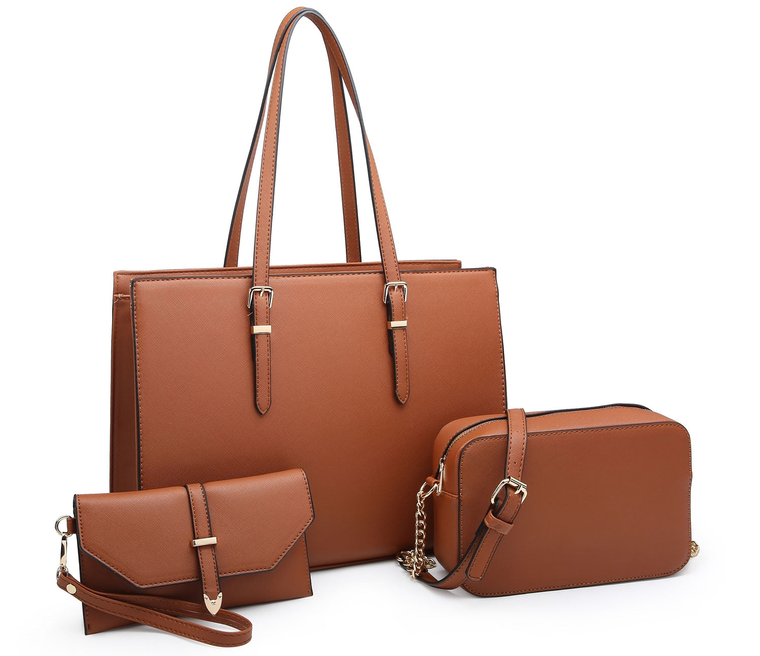 LARGE BROWN TOTE HANDBAG SET WITH PURSE AND CHAIN CROSSBODY BAG