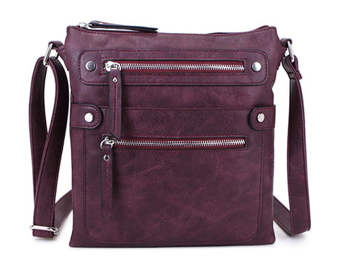 LARGE BURGUNDY MULTI COMPARTMENT CROSSBODY BAG WITH LONG STRAP