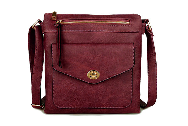 LARGE BURGUNDY TURN LOCK MULTI COMPARTMENT CROSS BODY SHOULDER BAG WITH LONG STRAP