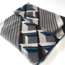 A-SHU LARGE DARK GREY MONOGRAM SQUARE CHECKED PRINT SHAWL SCARF - A-SHU.CO.UK