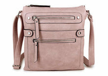 LARGE DARK PINK MULTI COMPARTMENT CROSSBODY BAG WITH LONG STRAP