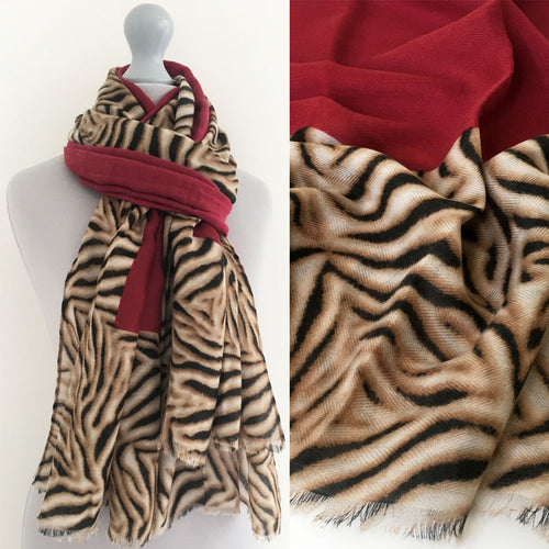 A-SHU LARGE DEEP RED BORDER ZEBRA PRINT SHAWL SCARF - A-SHU.CO.UK