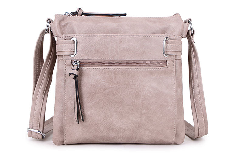 LARGE DUSKY PINK MULTI COMPARTMENT CROSS BODY OVER SHOULDER BAG WITH LONG STRAP