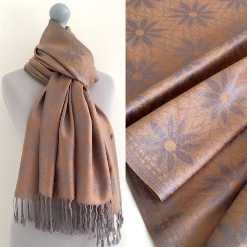 LARGE GOLD FLORAL DAISY PRINT GEOMETRIC REVERSIBLE PASHMINA SHAWL SCARF