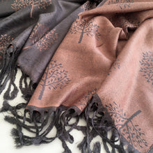 LARGE GREY PINK MULBERRY TREE REVERSIBLE PASHMINA SHAWL SCARF