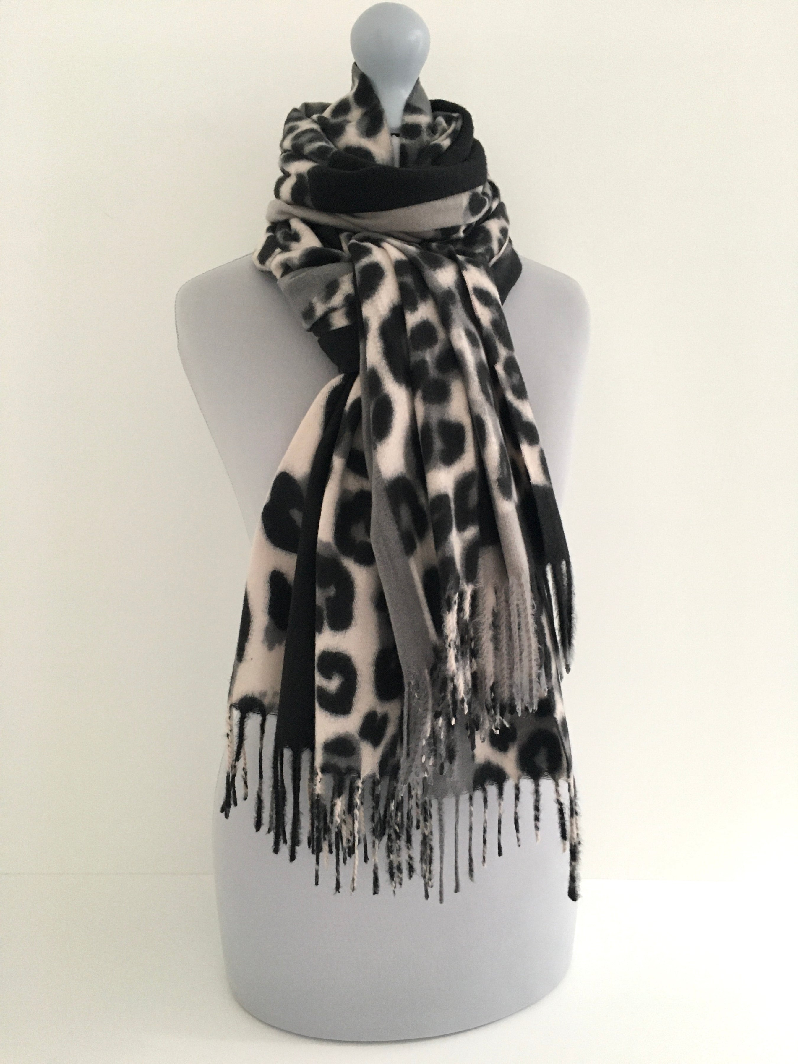 A-SHU LARGE GREY WOOL MIX FLEECE FEEL BLOCK PRINT LEOPARD PRINT SHAWL SCARF - A-SHU.CO.UK