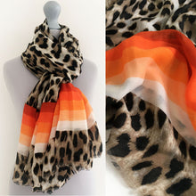 A-SHU LARGE LEOPARD PRINT SHAWL SCARF WITH ORANGE STRIPES - A-SHU.CO.UK