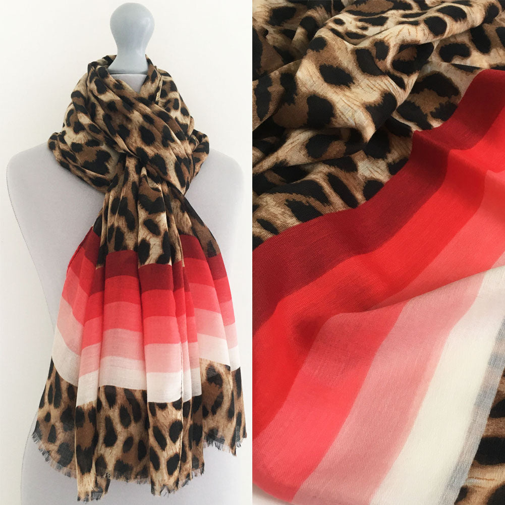 A-SHU LARGE LEOPARD PRINT SHAWL SCARF WITH RED STRIPES - A-SHU.CO.UK
