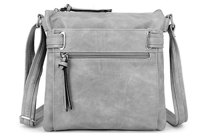 LARGE LIGHT GREY MULTI COMPARTMENT CROSS BODY OVER SHOULDER BAG WITH LONG STRAP