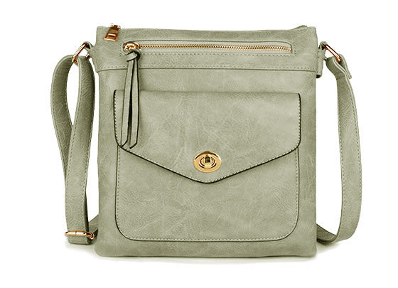 LARGE LIGHT GREY TURN LOCK MULTI COMPARTMENT CROSS BODY SHOULDER BAG WITH LONG STRAP