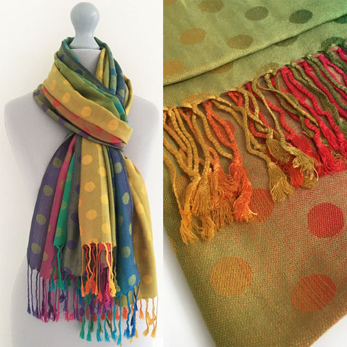 A-SHU LARGE LIME YELLOW MULTI-COLOUR DOT PRINT PASHMINA SHAWL SCARF - A-SHU.CO.UK
