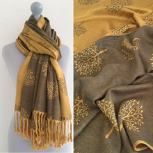 LARGE MUSTARD GREY MULBERRY TREE REVERSIBLE PASHMINA SHAWL SCARF