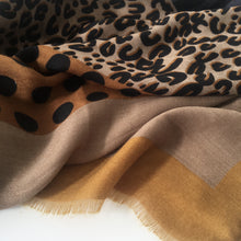 A-SHU LARGE MUSTARD YELLOW CHAIN AND DOTS LEOPARD PRINT SHAWL SCARF - A-SHU.CO.UK