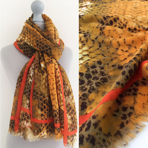 A-SHU LARGE MUSTARD YELLOW SNAKESKIN PRINT SHAWL SCARF WITH STRIPE - A-SHU.CO.UK