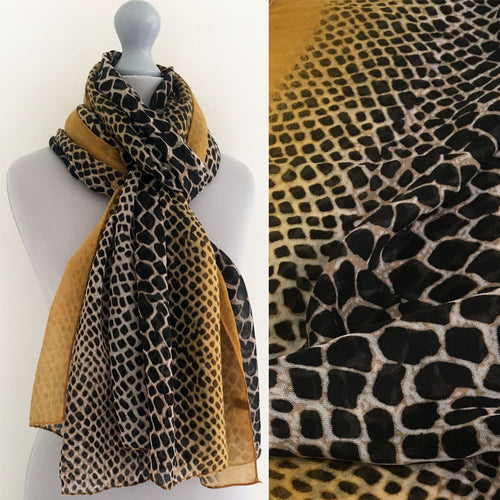 A-SHU LARGE MUSTARD YELLOW SNAKESKIN PRINT SHAWL SCARF - A-SHU.CO.UK