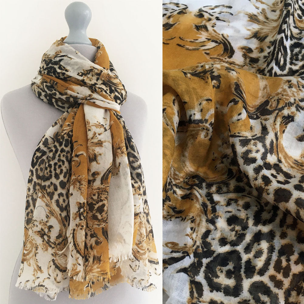 A-SHU LARGE MUSTARD YELLOW VINTAGE LEOPARD PRINT SHAWL SCARF - A-SHU.CO.UK