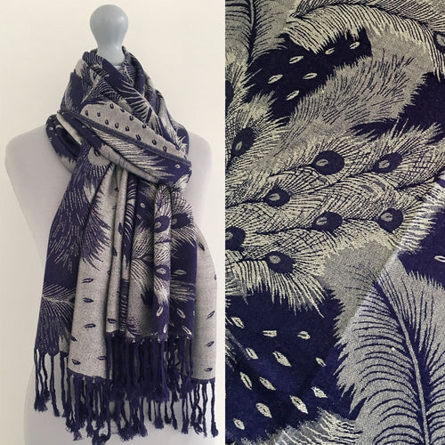 LARGE NAVY BLUE FEATHER AND LEAF PRINT REVERSIBLE PASHMINA SHAWL SCARF