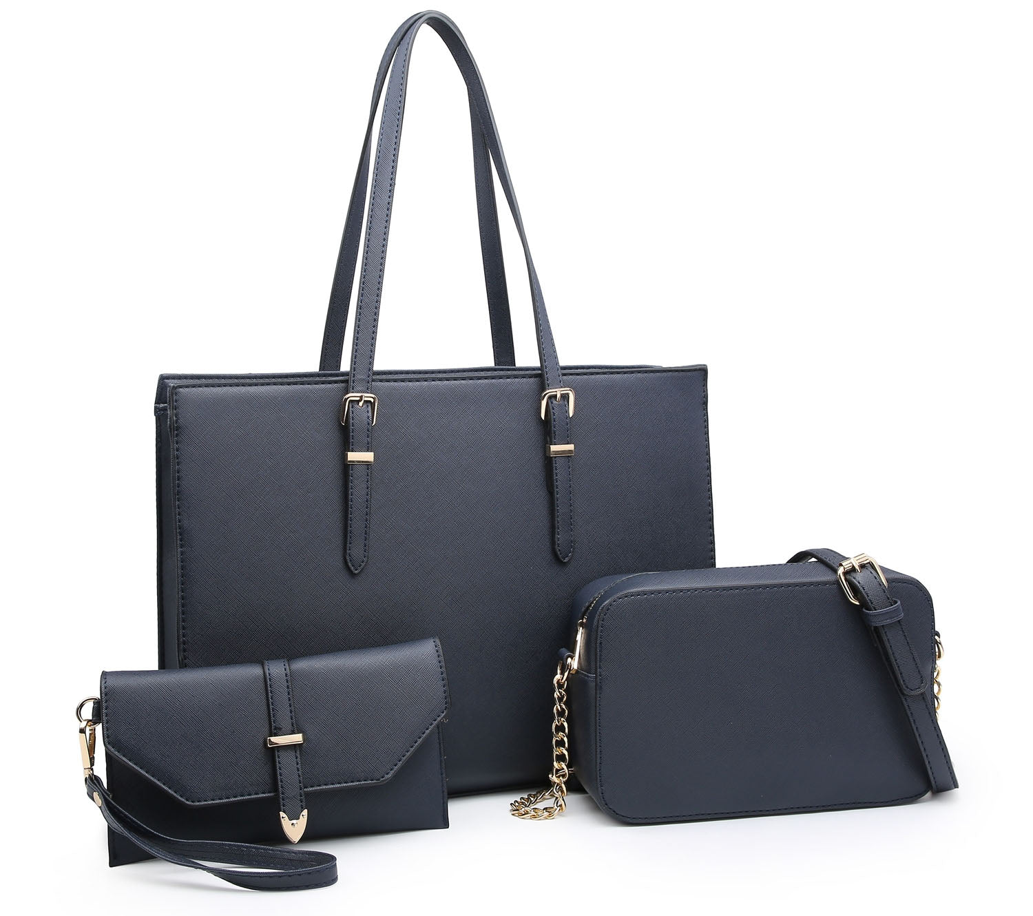 LARGE NAVY BLUE TOTE HANDBAG SET WITH PURSE AND CHAIN CROSSBODY BAG