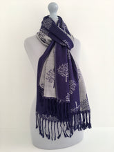 LARGE NAVY SILVER MULBERRY TREE REVERSIBLE PASHMINA SHAWL SCARF