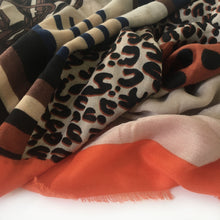 A-SHU LARGE ORANGE CHAIN AND DOTS LEOPARD PRINT SHAWL SCARF - A-SHU.CO.UK