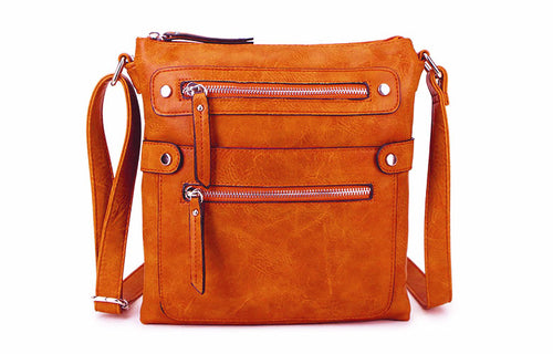 LARGE ORANGE MULTI COMPARTMENT CROSSBODY BAG WITH LONG STRAP