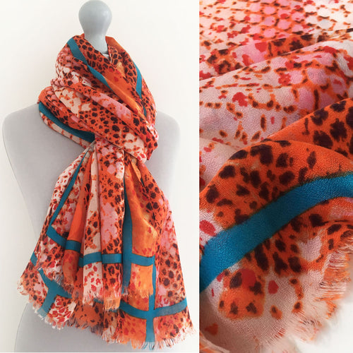 A-SHU LARGE ORANGE SNAKESKIN PRINT SHAWL SCARF WITH STRIPE - A-SHU.CO.UK