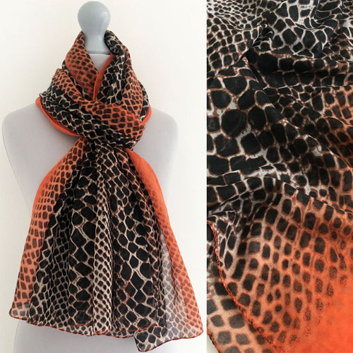 A-SHU LARGE ORANGE SNAKESKIN PRINT SHAWL SCARF - A-SHU.CO.UK