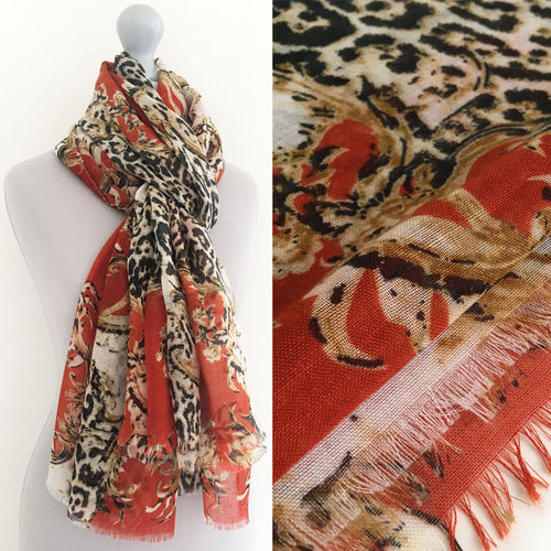 A-SHU LARGE ORANGE VINTAGE LEOPARD PRINT SHAWL SCARF - A-SHU.CO.UK