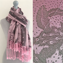 LARGE PINK FEATHER AND LEAF PRINT REVERSIBLE PASHMINA SHAWL SCARF