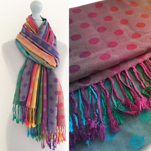 A-SHU LARGE PINKY PURPLE MULTI-COLOUR DOT PRINT PASHMINA SHAWL SCARF - A-SHU.CO.UK