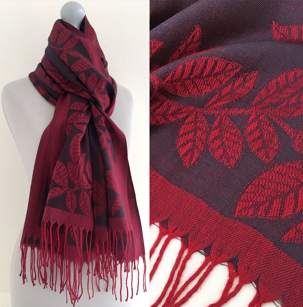 LARGE PURPLE BERRY LEAF PRINT REVERSIBLE PASHMINA SHAWL SCARF