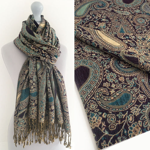 A-SHU LARGE PURPLE MULTI COLOUR PAISLEY PRINT PASHMINA SHAWL SCARF - A-SHU.CO.UK