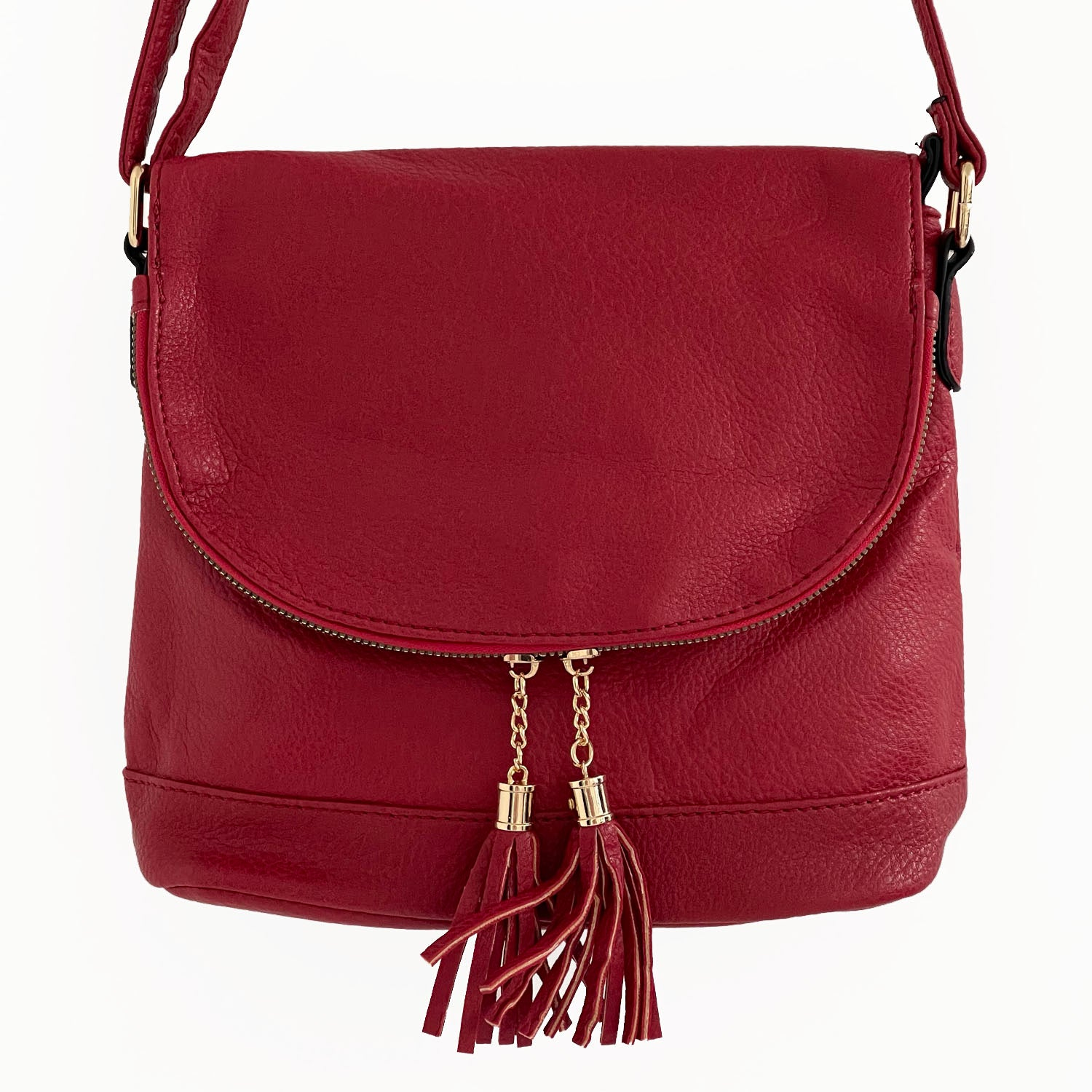LARGE RED TASSEL MULTI COMPARTMENT CROSS BODY SHOULDER BAG WITH LONG STRAP