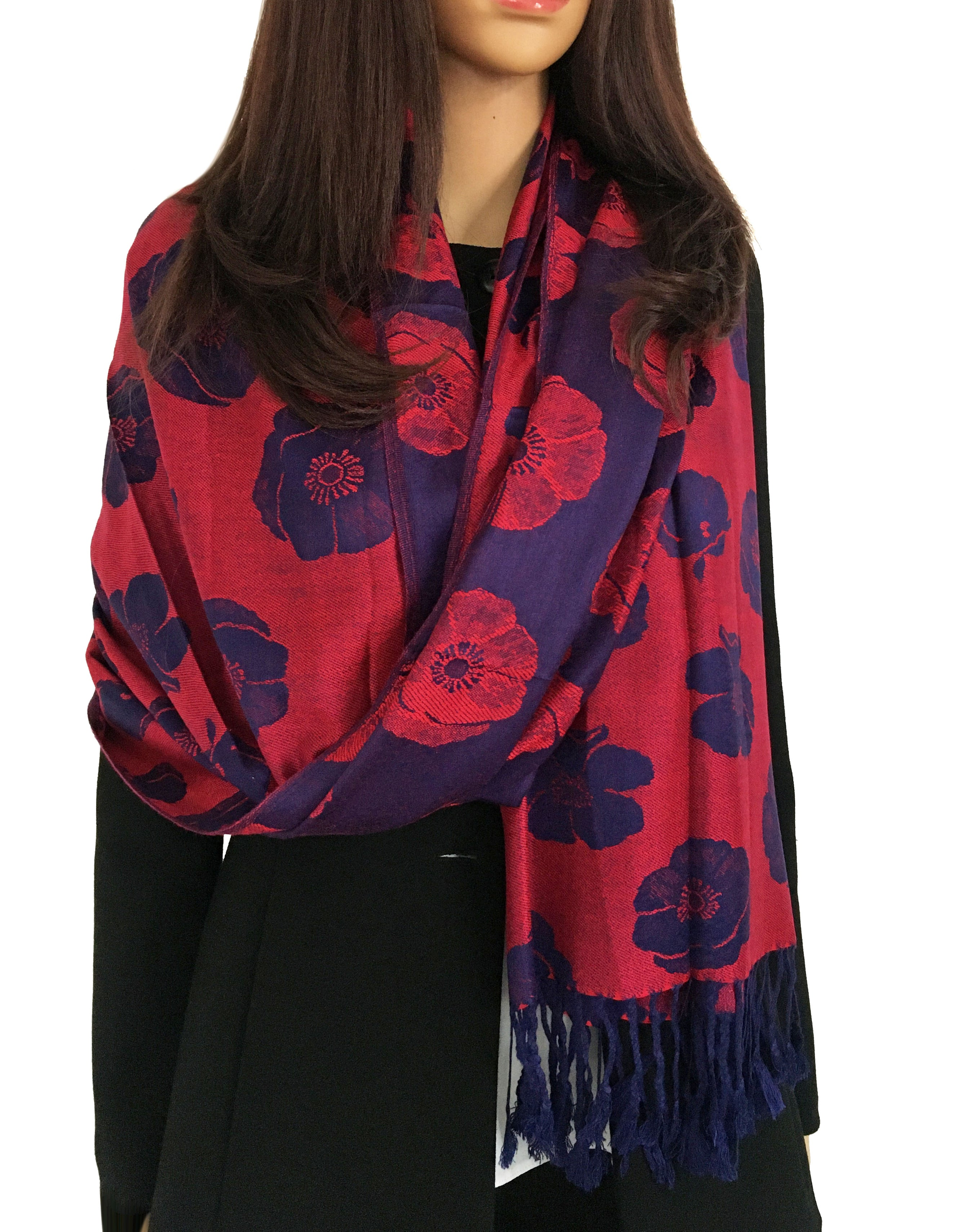 LARGE REVERSIBLE NAVY BLUE AND RED POPPY PASHMINA SHAWL SCARF