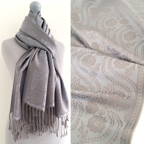 LARGE SILVERY BLUE SWIRL FLORAL PRINT REVERSIBLE PASHMINA SHAWL SCARF