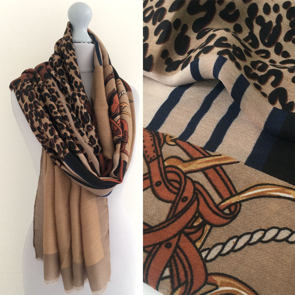 A-SHU LARGE TAUPE BEIGE CHAIN AND DOTS LEOPARD PRINT SHAWL SCARF - A-SHU.CO.UK