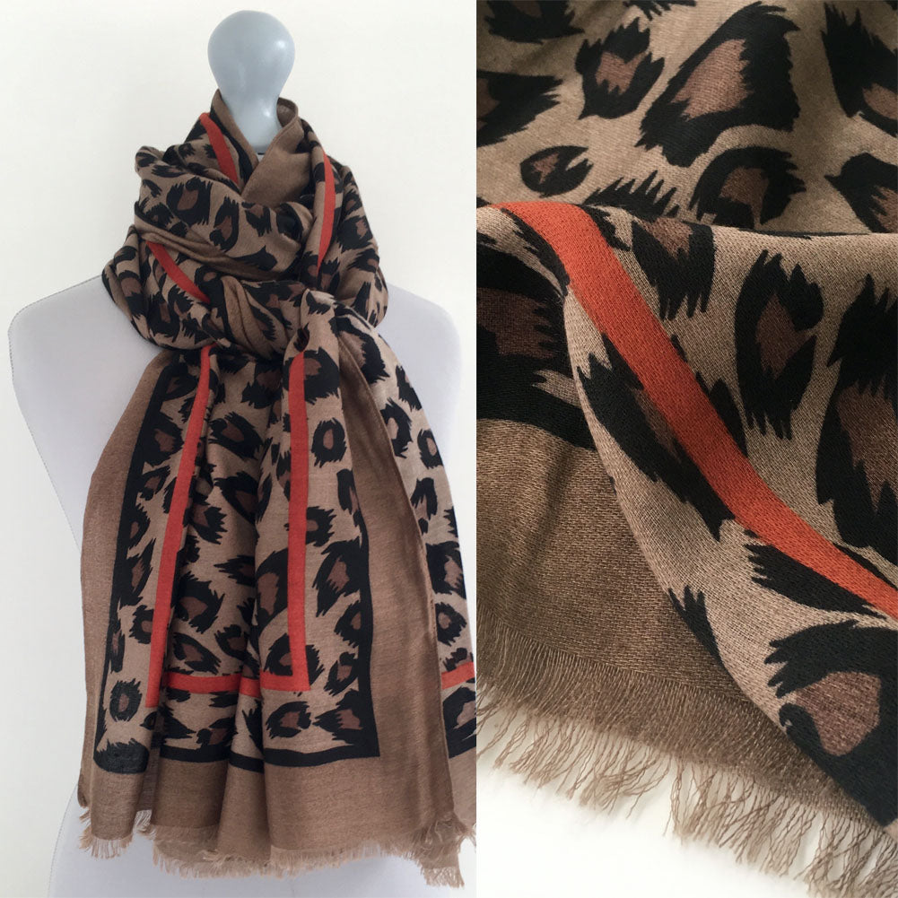 A-SHU LARGE TAUPE BROWN AND ORANGE STRIPE LEOPARD PRINT SCARF - A-SHU.CO.UK
