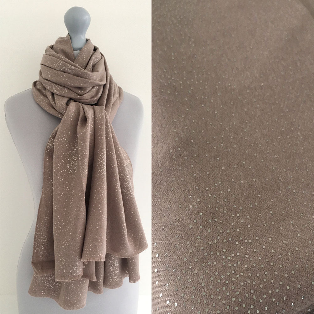 A-SHU LARGE TAUPE CASHMERE MIX SUPER SOFT PASHMINA SHAWL SCARF WITH METALLIC FOIL - A-SHU.CO.UK