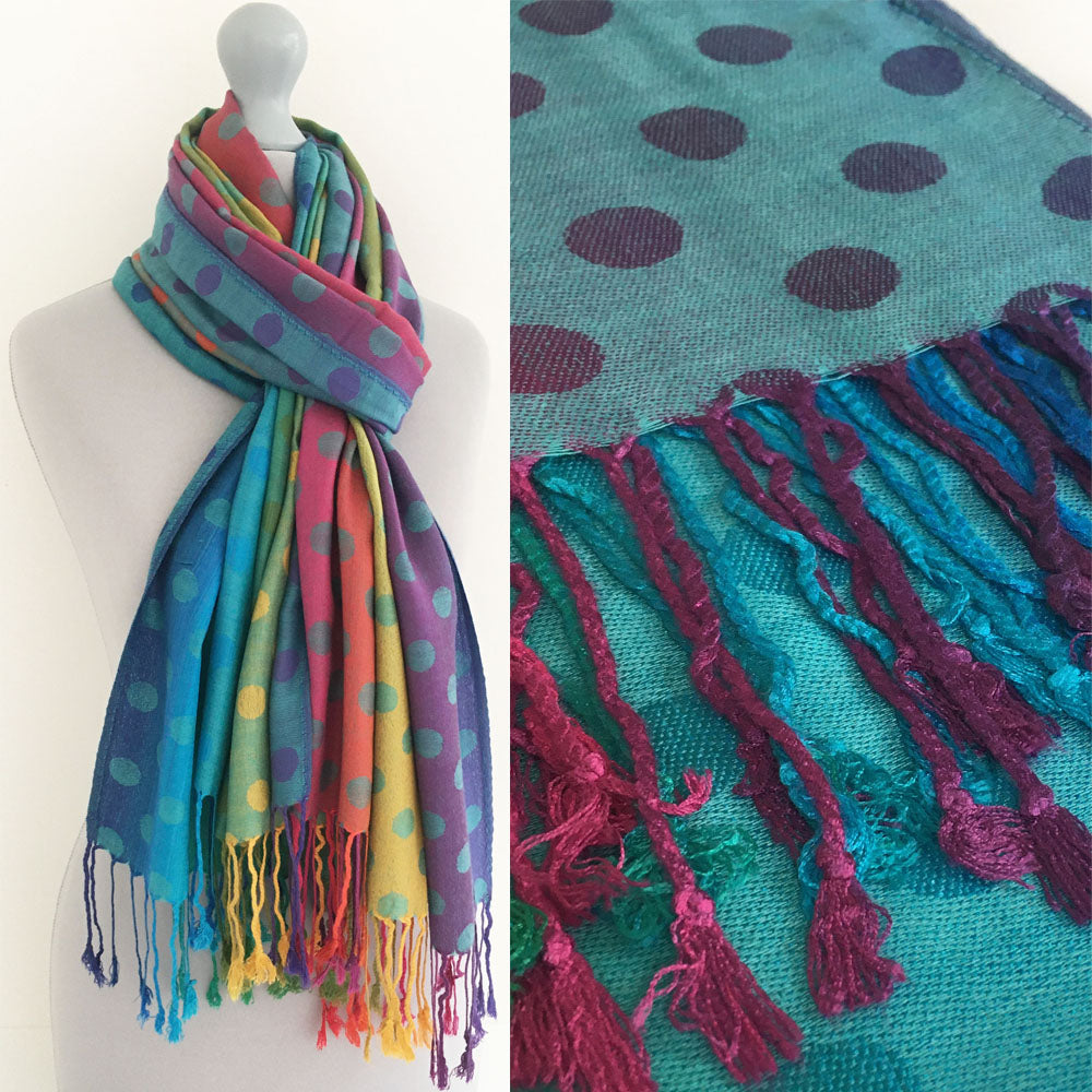 A-SHU LARGE TEAL BLUE MULTI-COLOUR DOT PRINT PASHMINA SHAWL SCARF - A-SHU.CO.UK