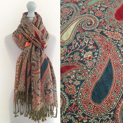 A-SHU LARGE TEAL MULTI COLOUR PAISLEY PRINT PASHMINA SHAWL SCARF - A-SHU.CO.UK