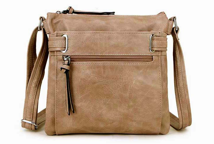 A-SHU LARGE BEIGE MULTI COMPARTMENT CROSS BODY OVER SHOULDER BAG WITH LONG STRAP - A-SHU.CO.UK
