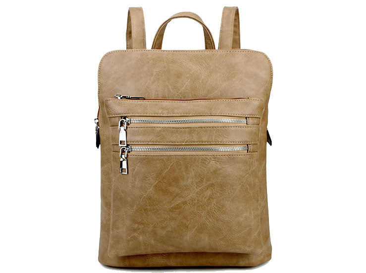 A-SHU PLAIN MULTI COMPARTMENT BACKPACK - TAUPE BEIGE - A-SHU.CO.UK
