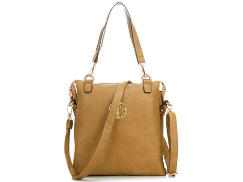 A-SHU LARGE BEIGE MULTI POCKET HANDBAG WITH LONG CROSS BODY STRAP - A-SHU.CO.UK